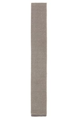 'T-Tie 6 cm Knitted' | Slim, Knitted Silk Tie, Light Grey