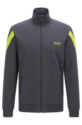 'Jacket Zip' | Stretch Cotton Zip Jersey Jacket, Dark Grey