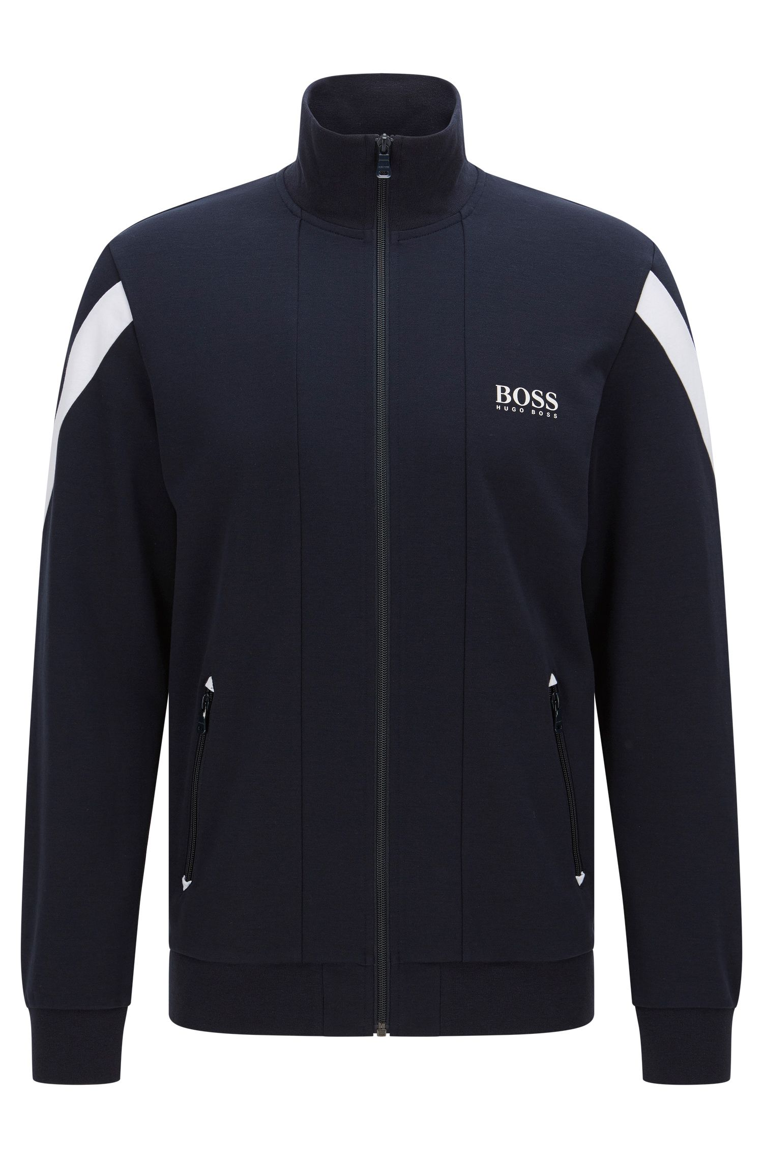 Stretch Cotton Zip Jersey Jacket | Jacket Zip, Dark Blue
