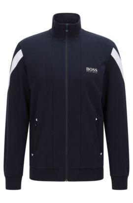 'Jacket Zip' | Stretch Cotton Zip Jersey Jacket, Dark Blue