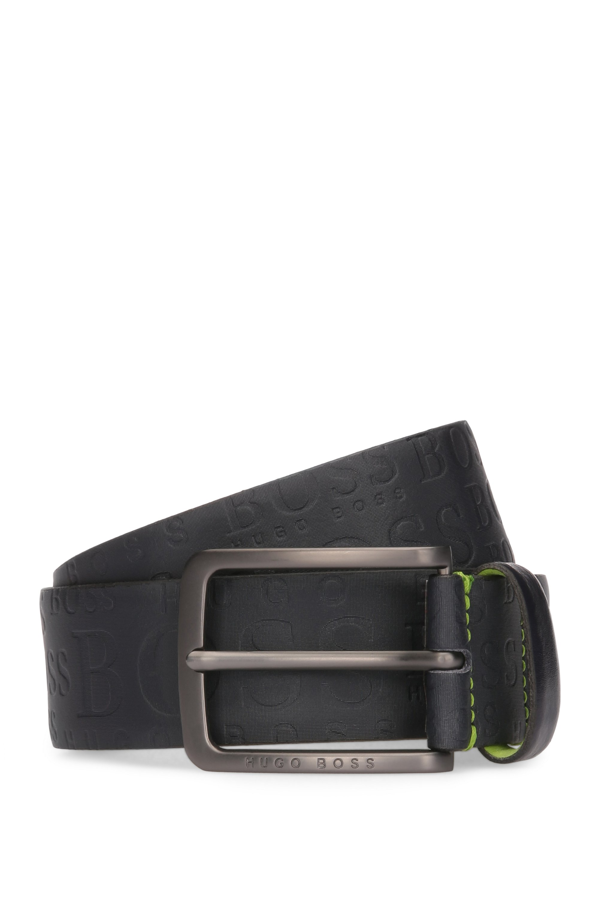 Embossed Leather Belt | Toga, Dark Blue