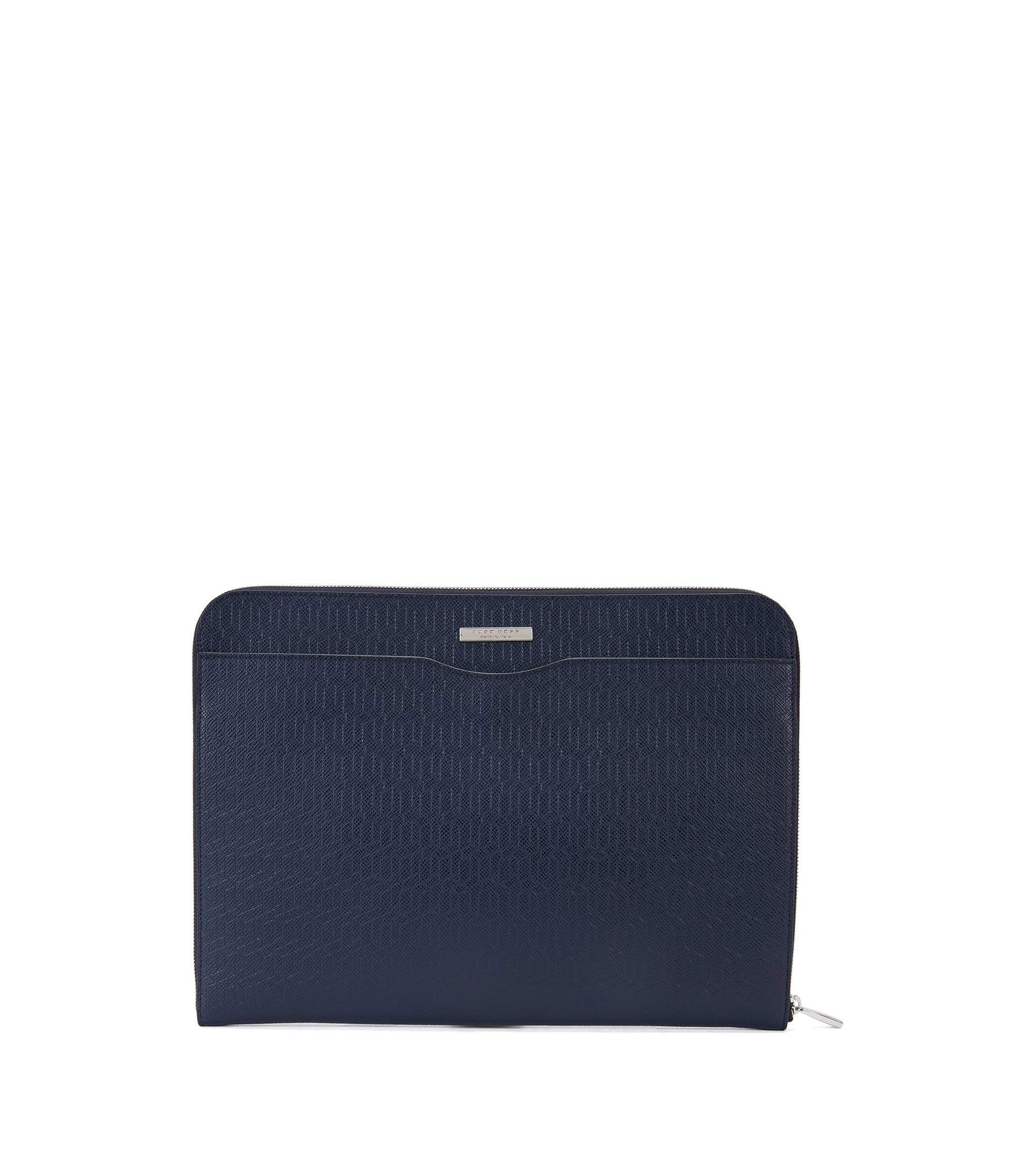 Embossed Leather Portfolio Case | Signature HE Portf, Dark Blue