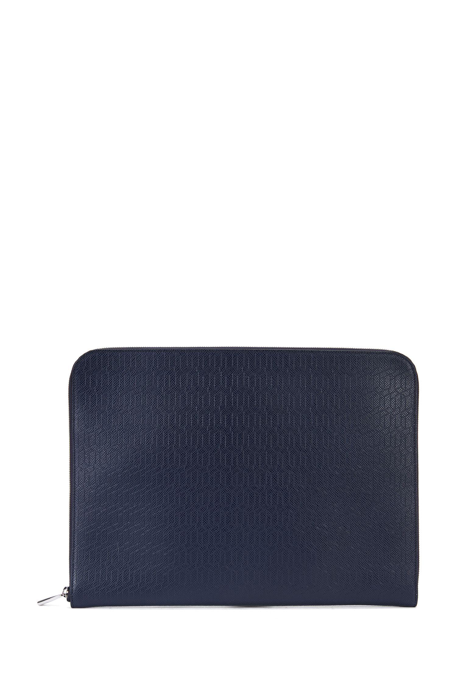 Embossed Leather Portfolio Case | Signature HE Portf, Dark Blue