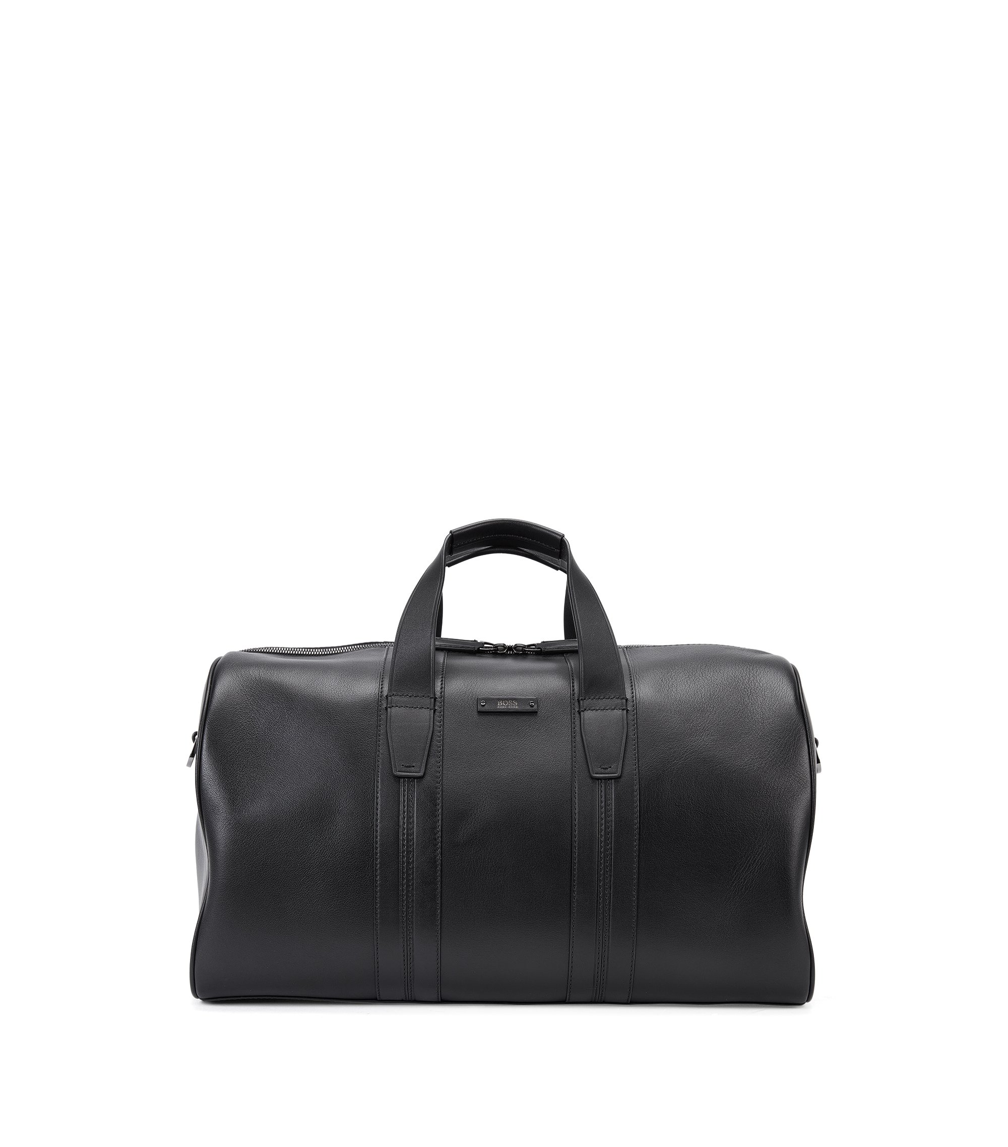 'Milano Holdall' | Leather Weekender Bag, Black