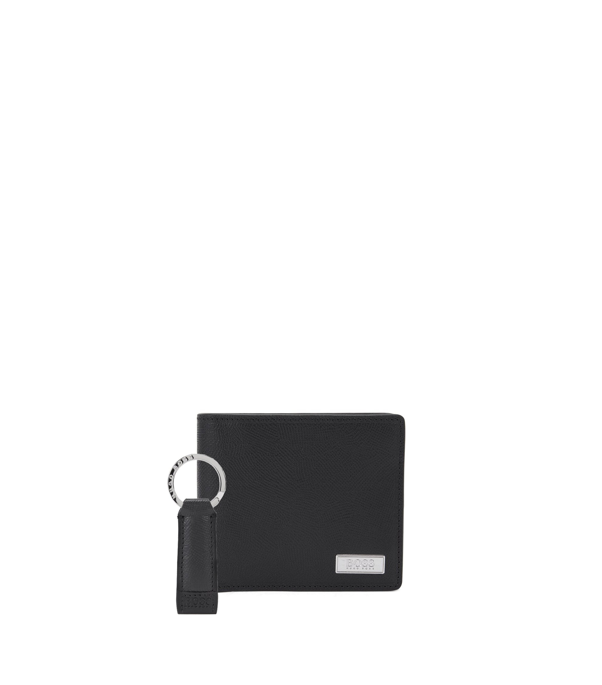 Leather Wallet & Key Ring Gift Set | Coin Key, Black