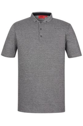'Darriott' | Regular Fit, Dotted Cotton Polo, Black
