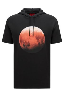 'Doubletree' | Red Moon Cotton Blend Hooded Sweatshirt, Black