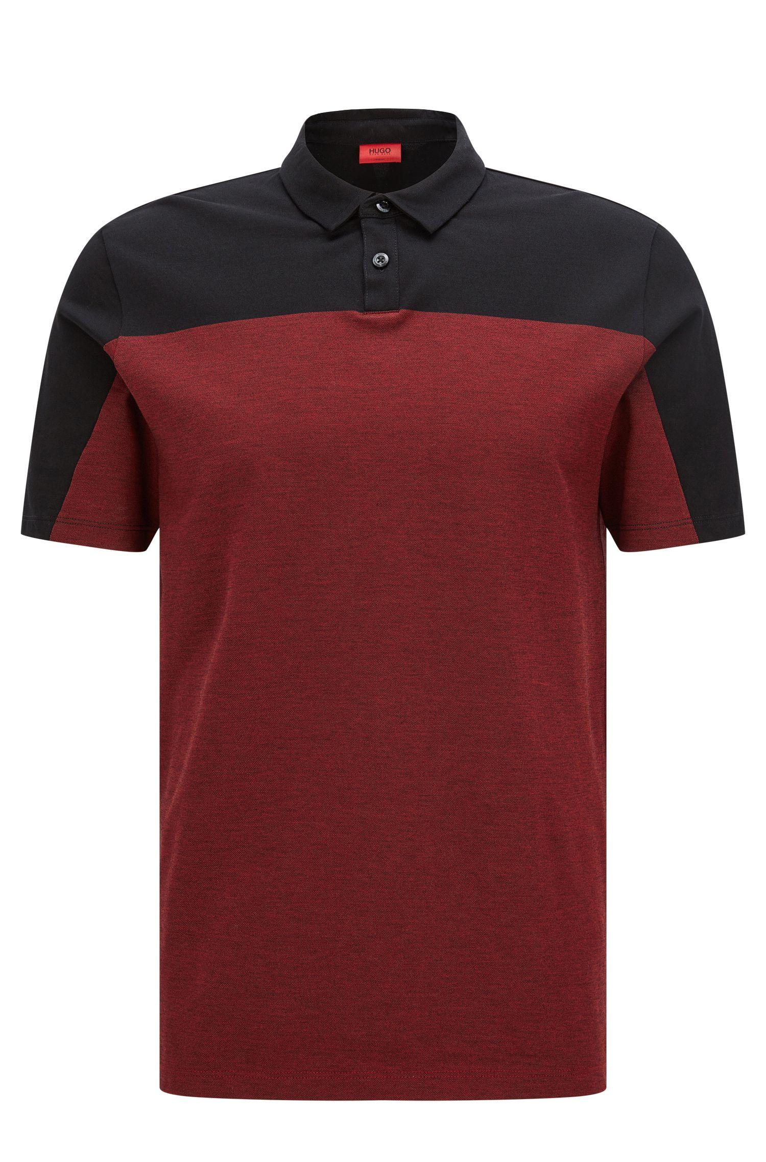 Colorblock Cotton Polo, Slim Fit   Dormfort , Black