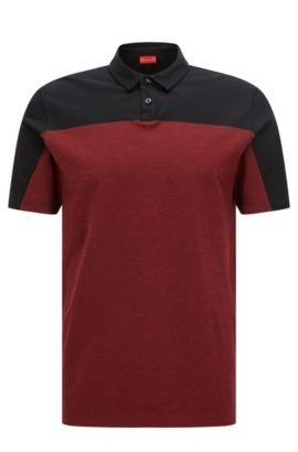 'Domfort' | Slim Fit, Colorblock Cotton Polo, Black
