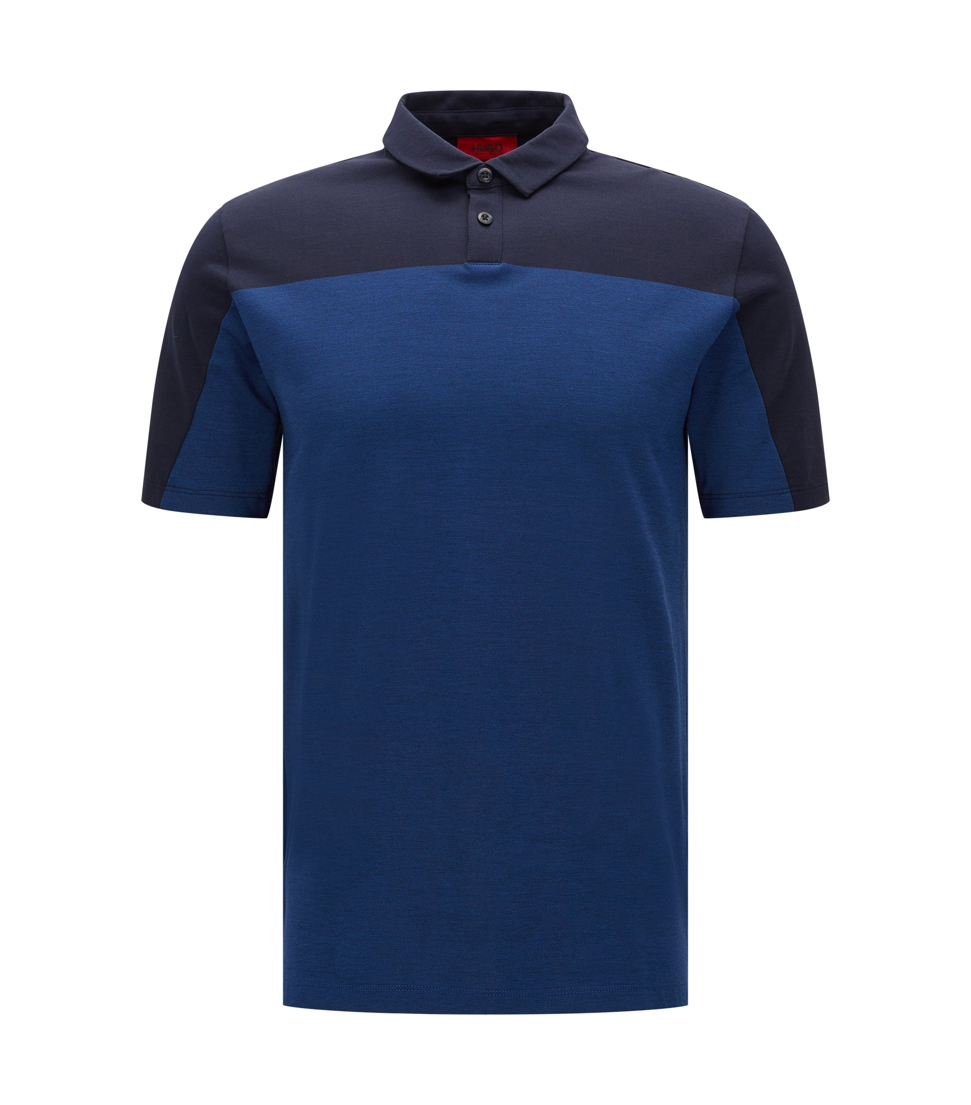Colorblock Cotton Polo, Slim Fit | Dormfort , Dark Blue