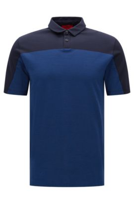 'Domfort' | Slim Fit, Colorblock Cotton Polo, Dark Blue