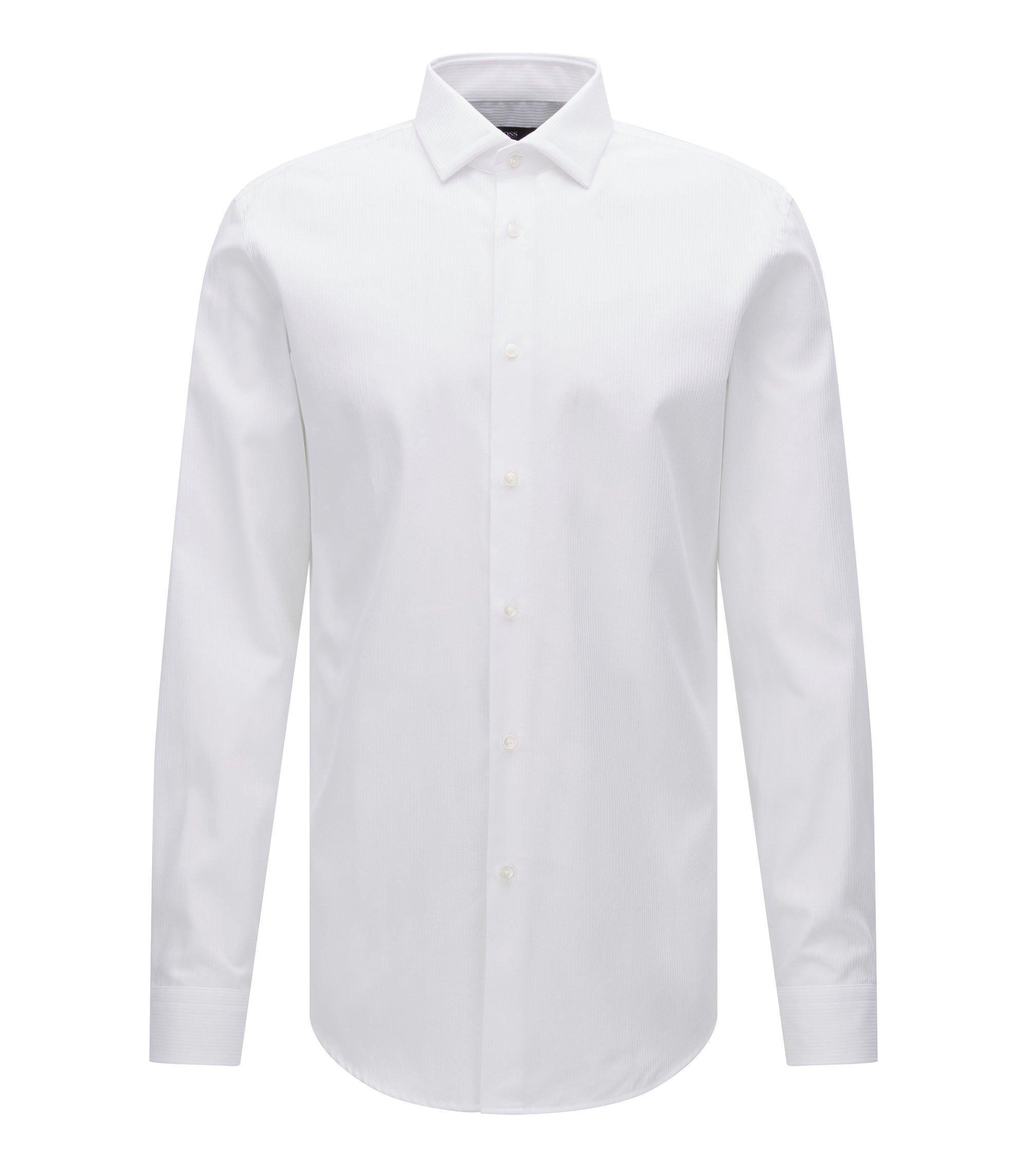 Tonal Stripe Cotton Dress Shirt, Slim Fit | Iseo, Open White