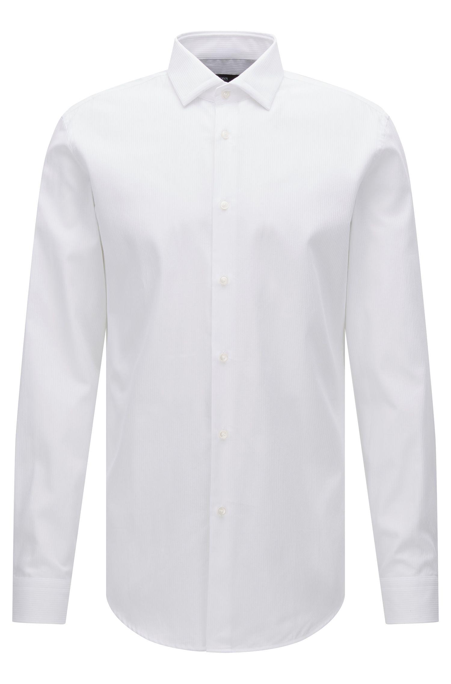 Tonal Stripe Cotton Dress Shirt, Slim Fit | Iseo