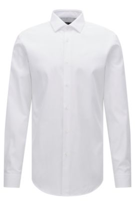Tonal Stripe Cotton Dress Shirt, Slim Fit | Iseo, Open White