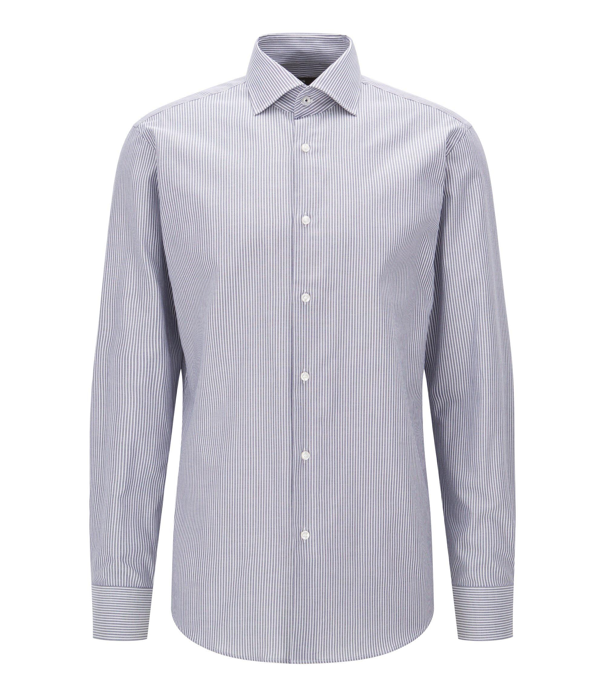Striped Oxford Cotton Dress Shirt, Regular Fit | Gert, Dark Blue