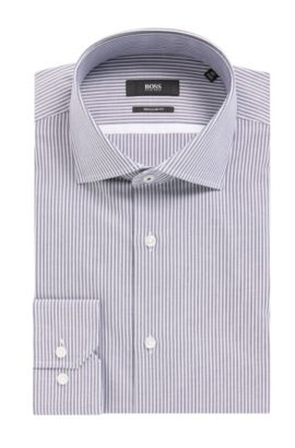 'Gert' | Regular Fit, Striped Oxford Cotton Dress Shirt, Dark Blue