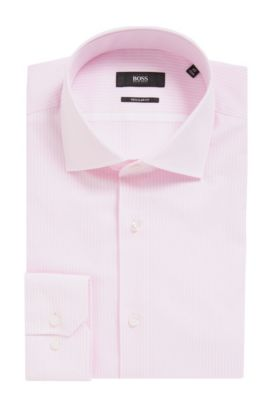 Striped Oxford Cotton Dress Shirt, Regular Fit | Gert, light pink