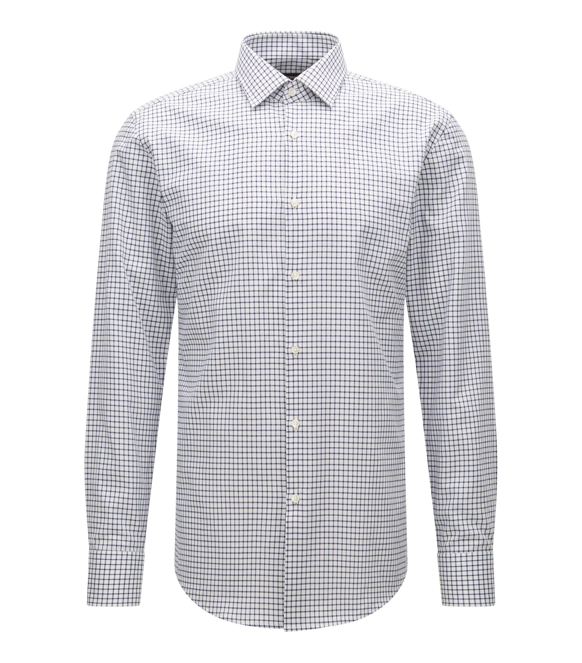Checked Cotton Dress Shirt, Slim Fit | Jenno, Dark Blue