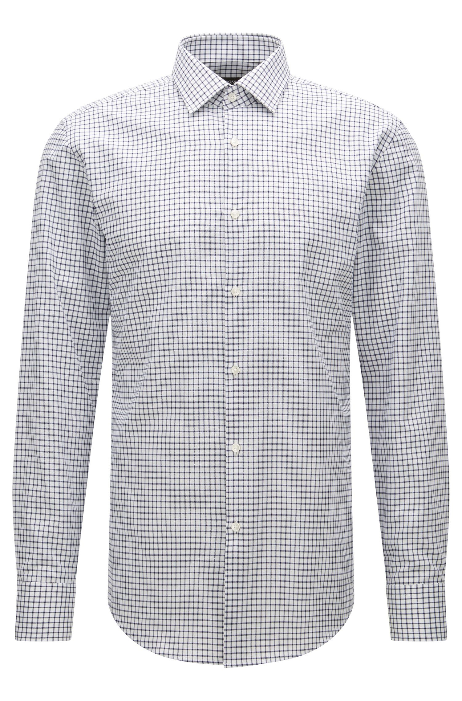 Check Cotton Dress Shirt, Slim Fit | Jenno