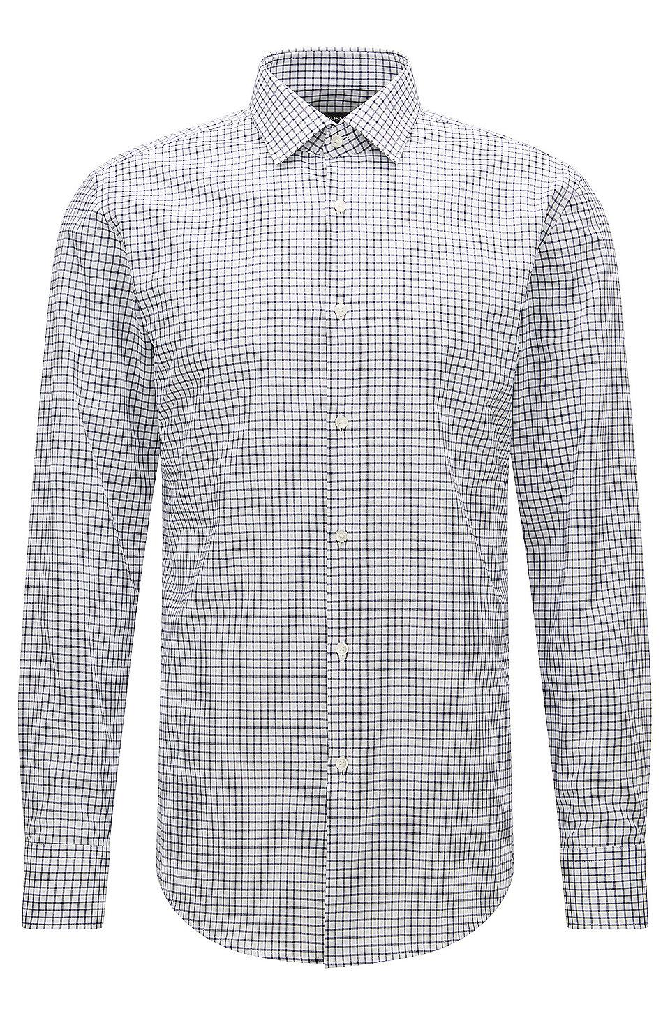 0a053e51 BOSS - Checked Cotton Dress Shirt, Slim Fit | Jenno