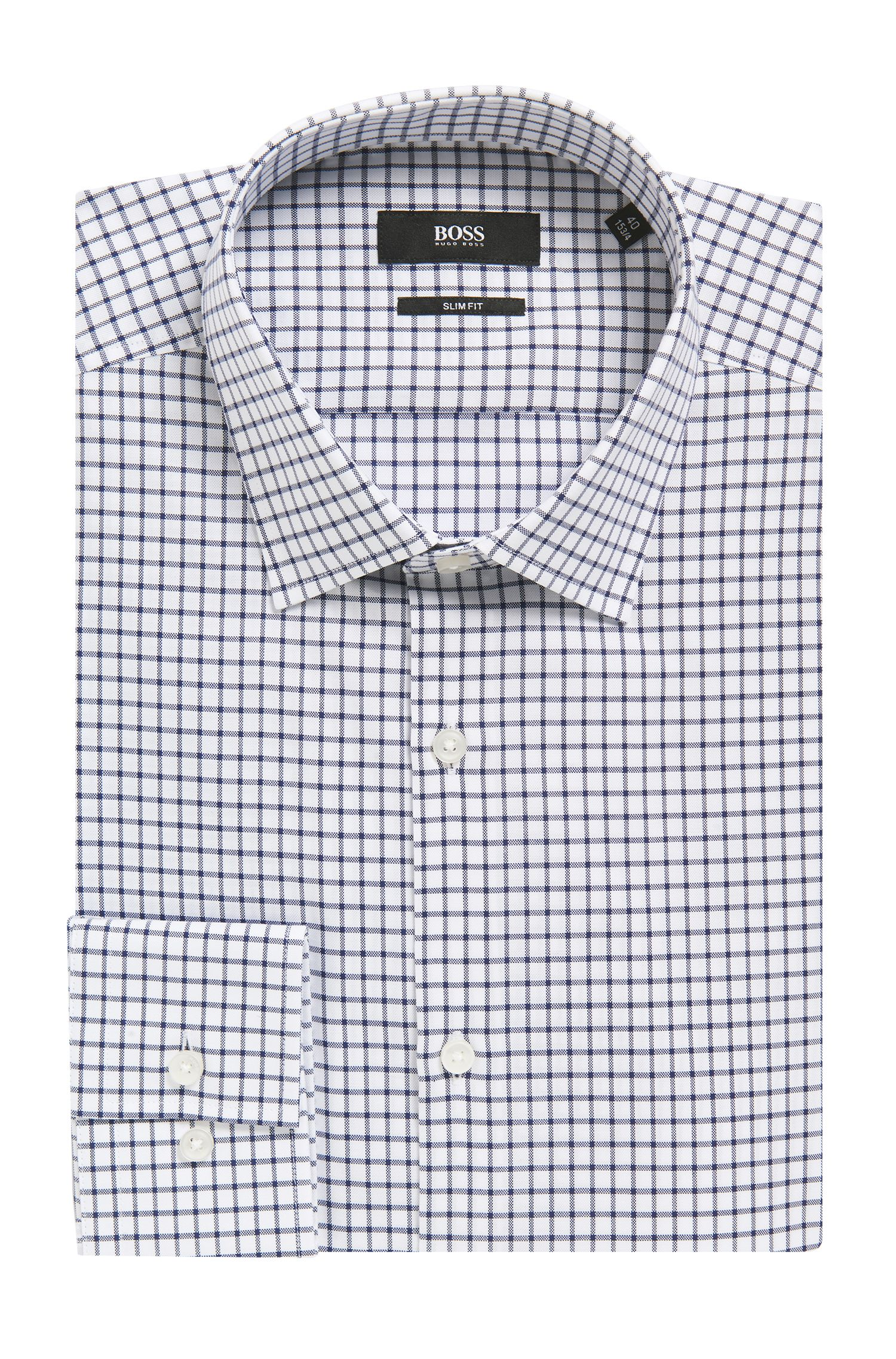 Grid Check Cotton Dress Shirt, Slim Fit | Jenno