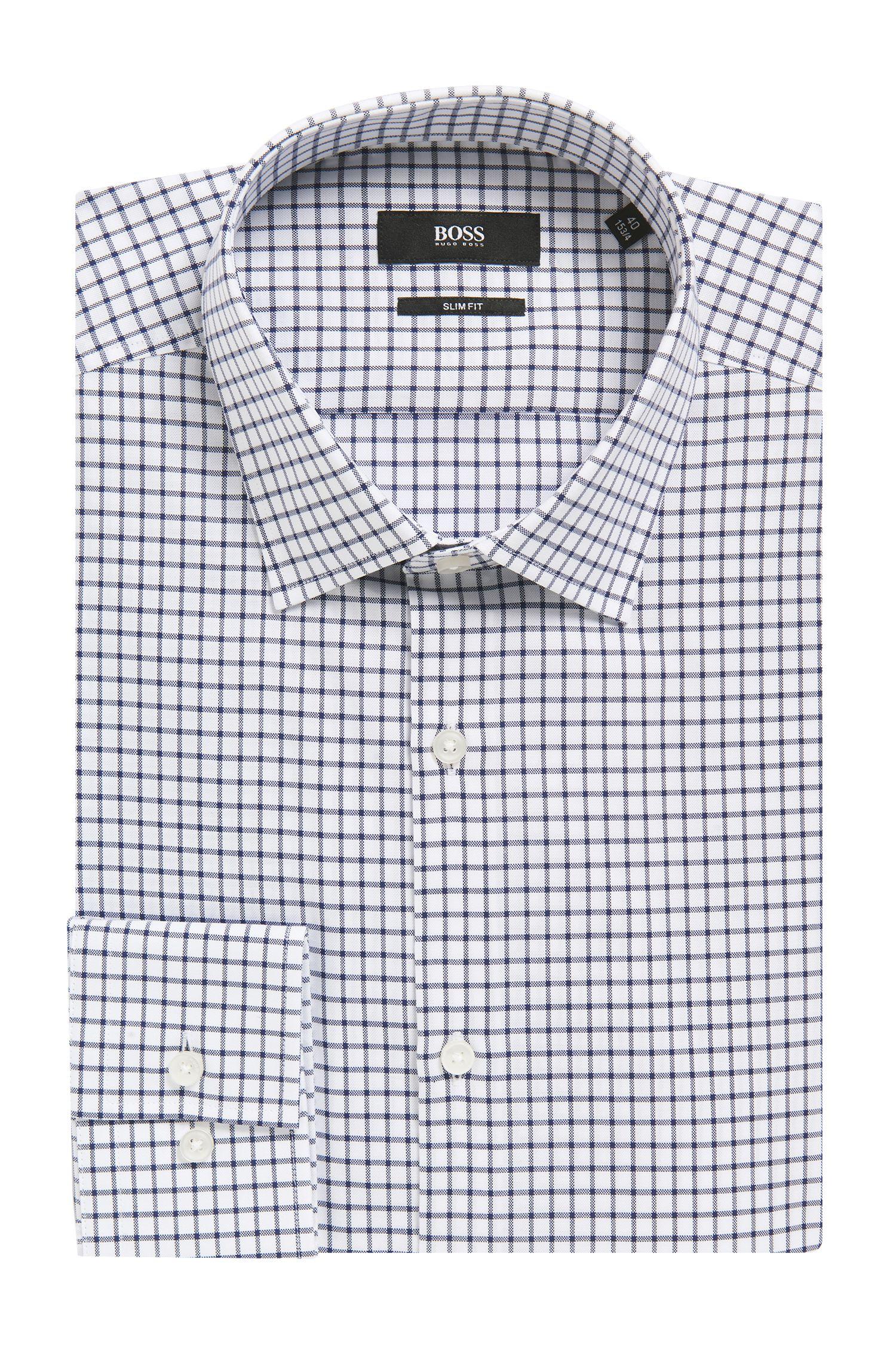 Grid Check Cotton Dress Shirt, Slim Fit | Jenno