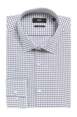 Grid Check Cotton Dress Shirt, Slim Fit | Jenno  , Dark Blue
