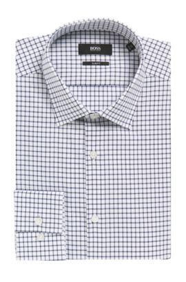 Grid Check Cotton Dress Shirt, Slim Fit | Jenno, Dark Blue