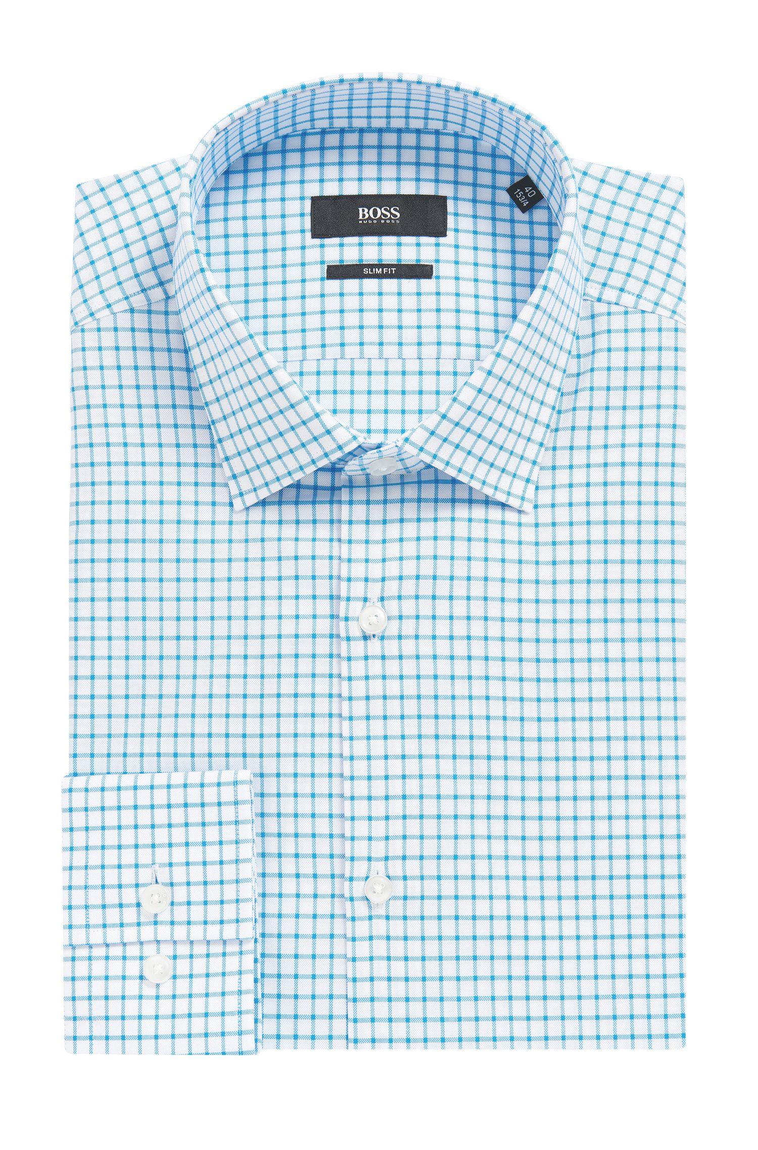 Checked Cotton Dress Shirt, Slim Fit   Jenno