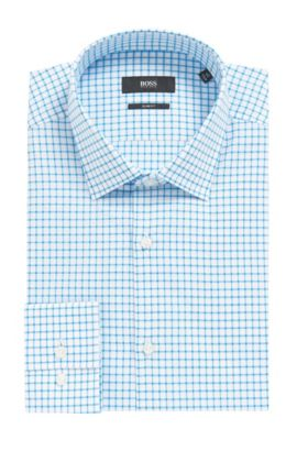 Grid Check Cotton Dress Shirt, Slim Fit | Jenno  , Turquoise