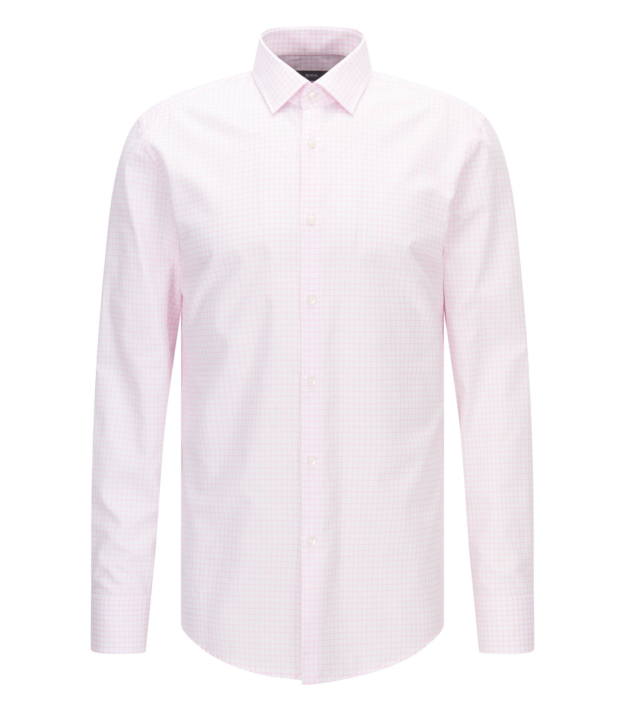 Checked Cotton Dress Shirt, Slim Fit | Jenno, light pink