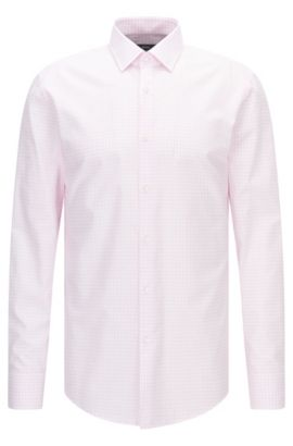 Check Cotton Dress Shirt, Slim Fit | Jenno  , light pink