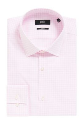 Grid Check Cotton Dress Shirt, Slim Fit | Jenno  , light pink