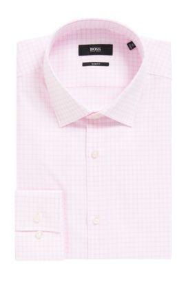 Grid Check Cotton Dress Shirt, Slim Fit | Jenno, light pink