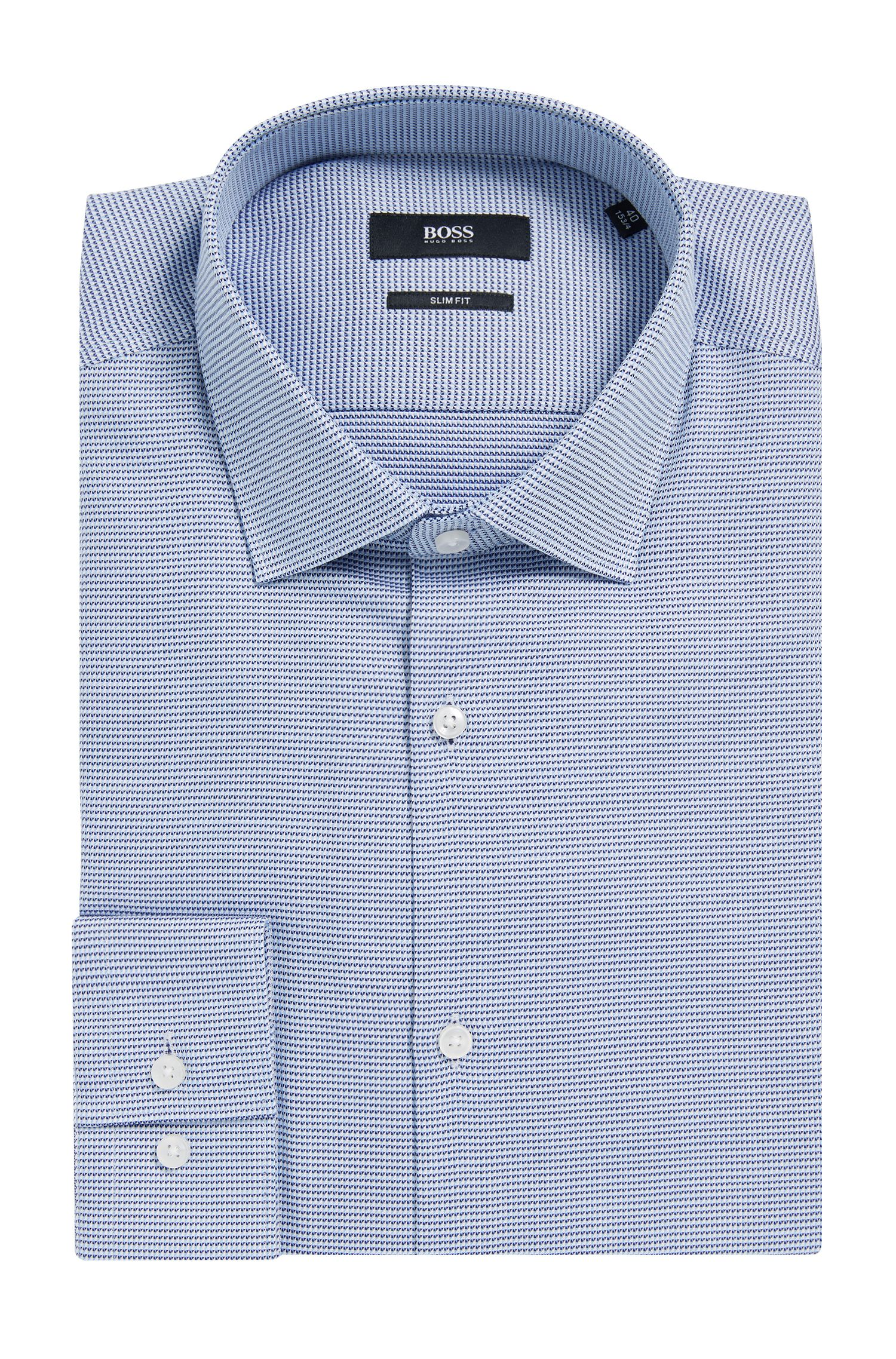 Pin-check Cotton Dress Shirt, Slim Fit | Ismo, Dark Blue