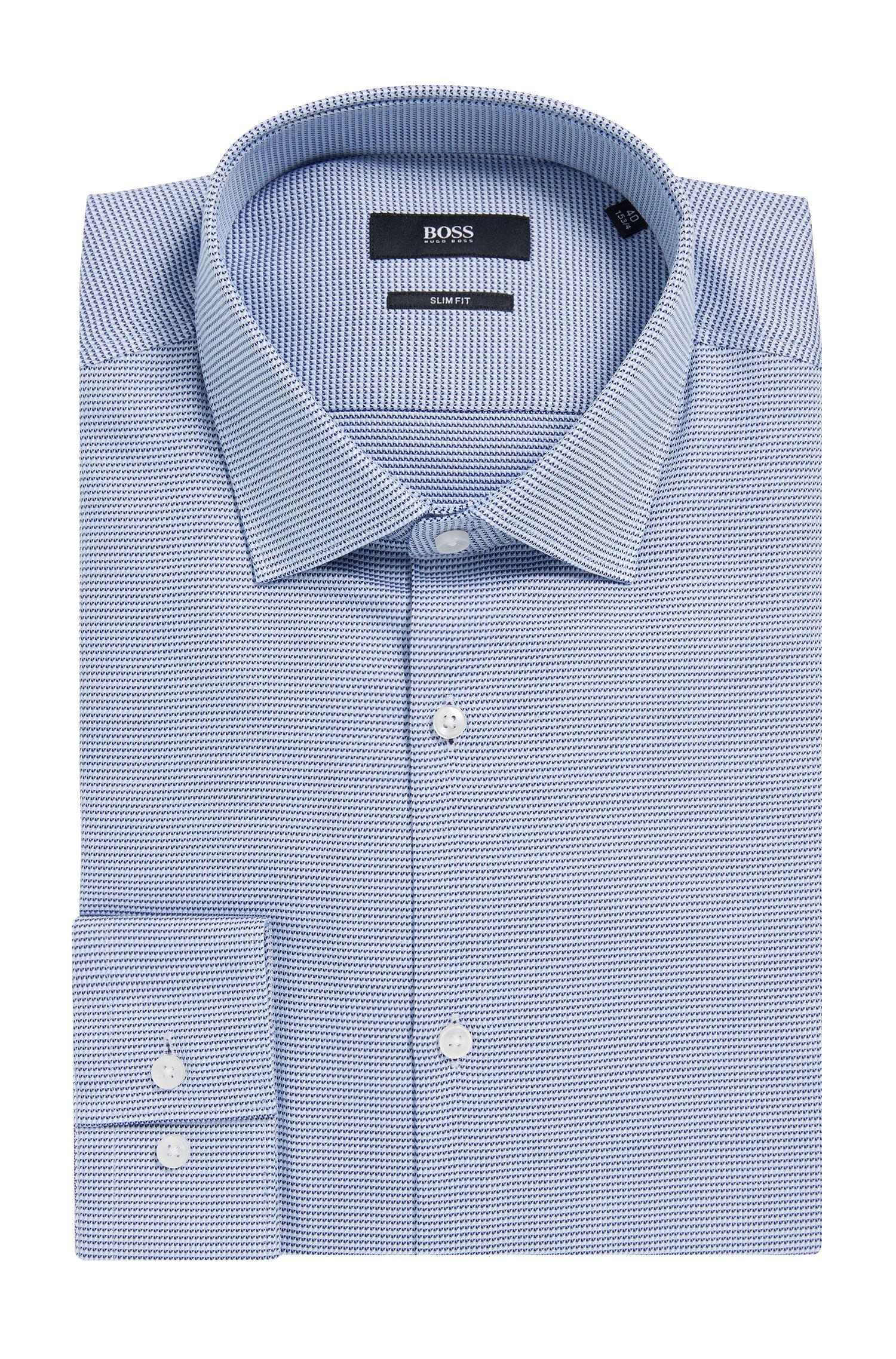 Pin Check Cotton Dress Shirt, Slim Fit | Ismo