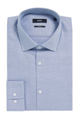 Pin Check Cotton Dress Shirt, Slim Fit | Ismo, Dark Blue