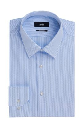 Regular Fit, Striped Cotton Dress Shirt | 'Enzo', Light Blue