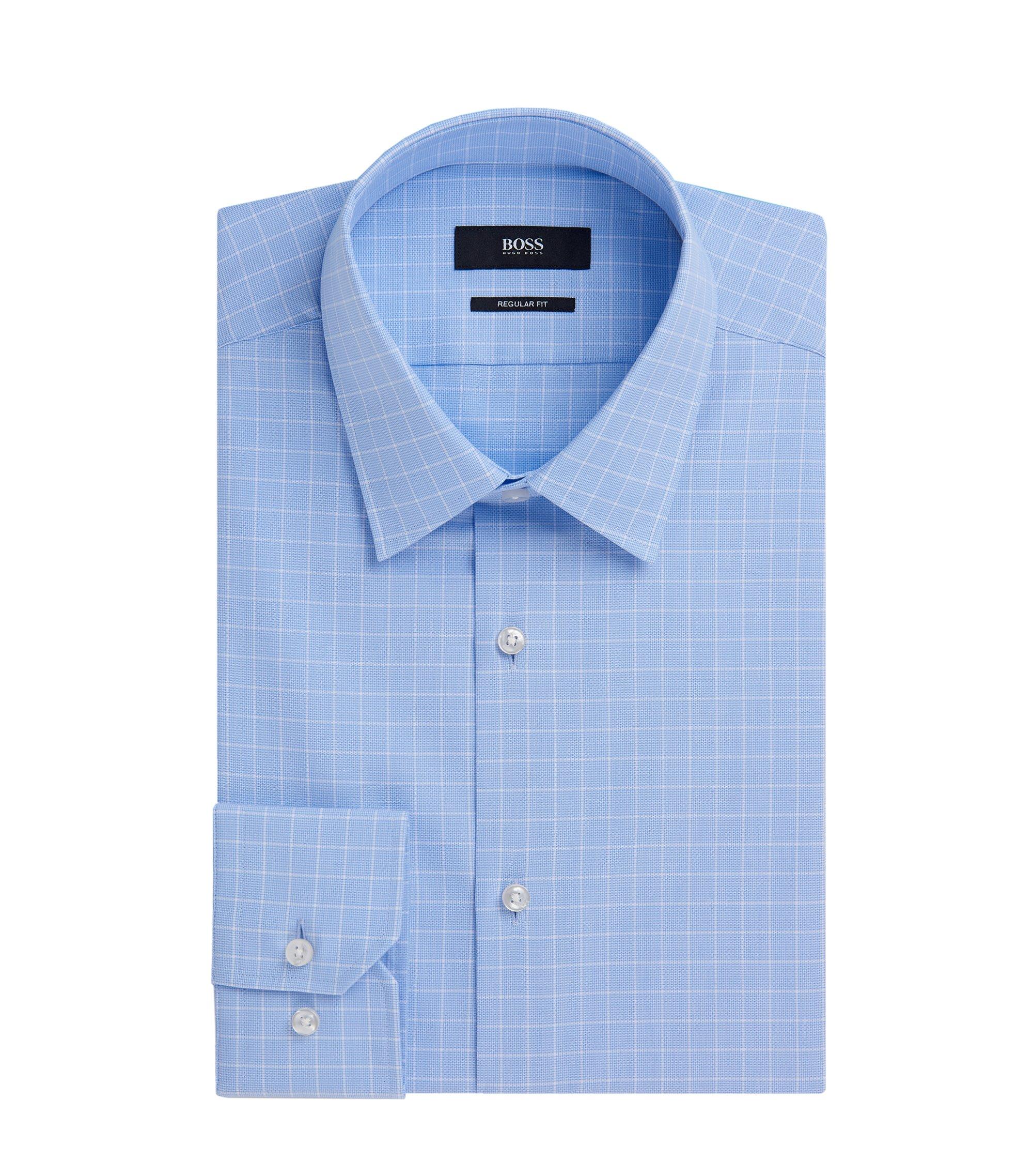 Check Cotton Dress Shirt, Regular Fit | Enzo, Light Blue