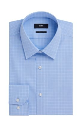 Regular Fit, Check Cotton Dress Shirt | 'Enzo', Light Blue