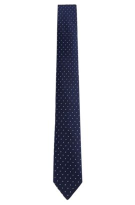 'Tie 6 cm' | Slim, Patterned Silk Tie, Dark Blue