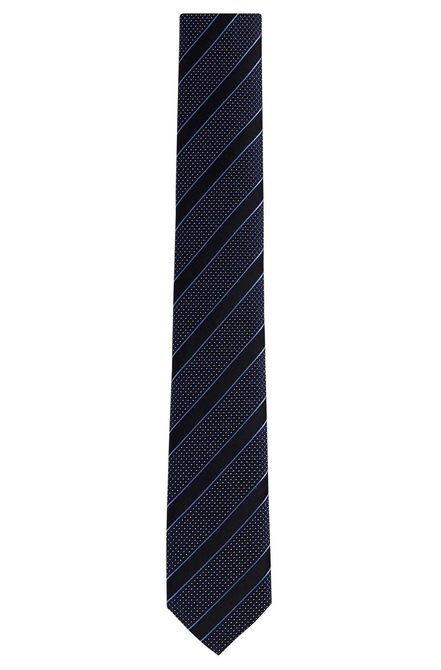 Patterned Italian Silk Slim Tie, Dark Blue
