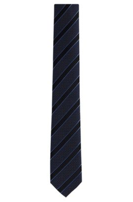 Patterned Italian Silk Slim Tie, Dark Blue
