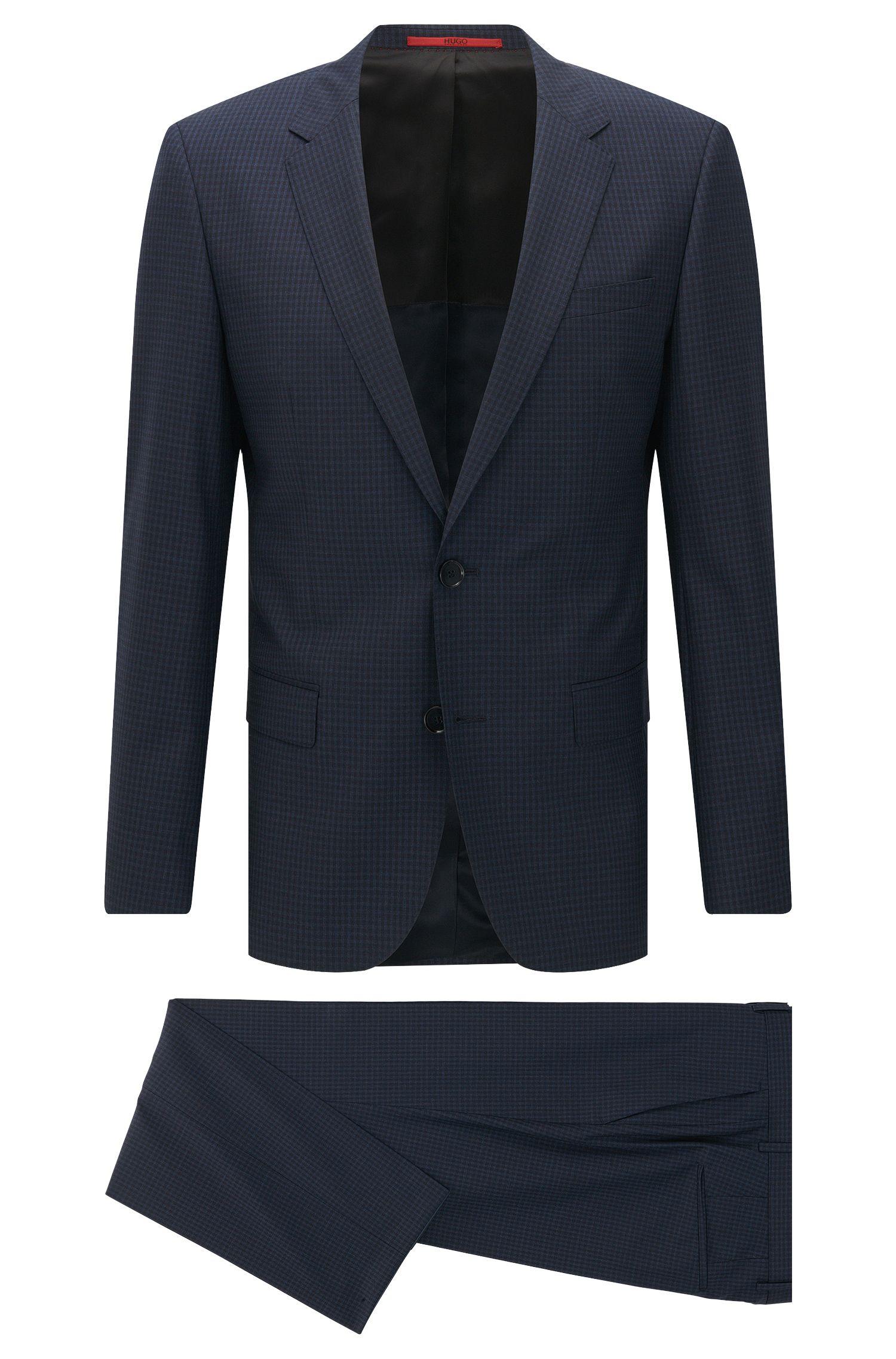 Pincheck Virgin Wool Suit, Slim Fit | C-Huge/C-Genius, Dark Blue