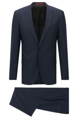 Pincheck Virgin Wool Suit, Slim Fit | C-Huge/C-Genius, Dark Blue