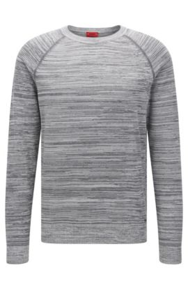Srolon | Slim fit, Melange Stripe Cotton Sweater, Grey