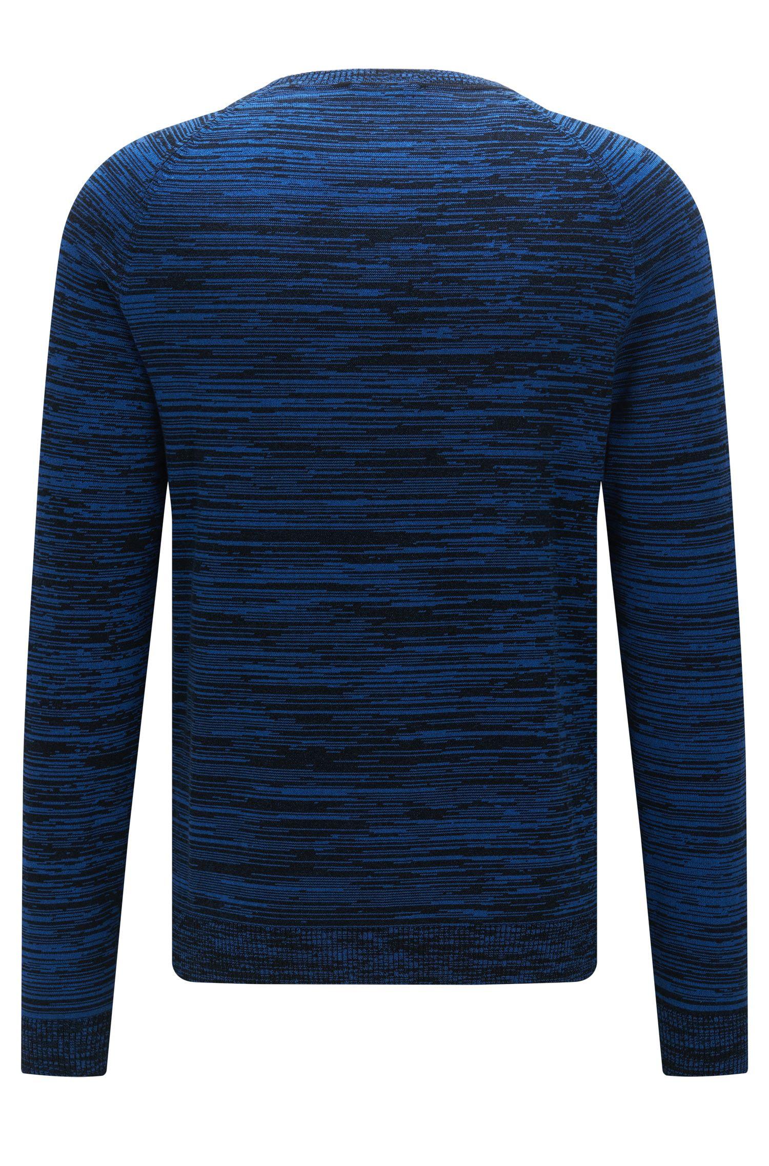 Srolon | Slim fit, Melange Stripe Cotton Sweater