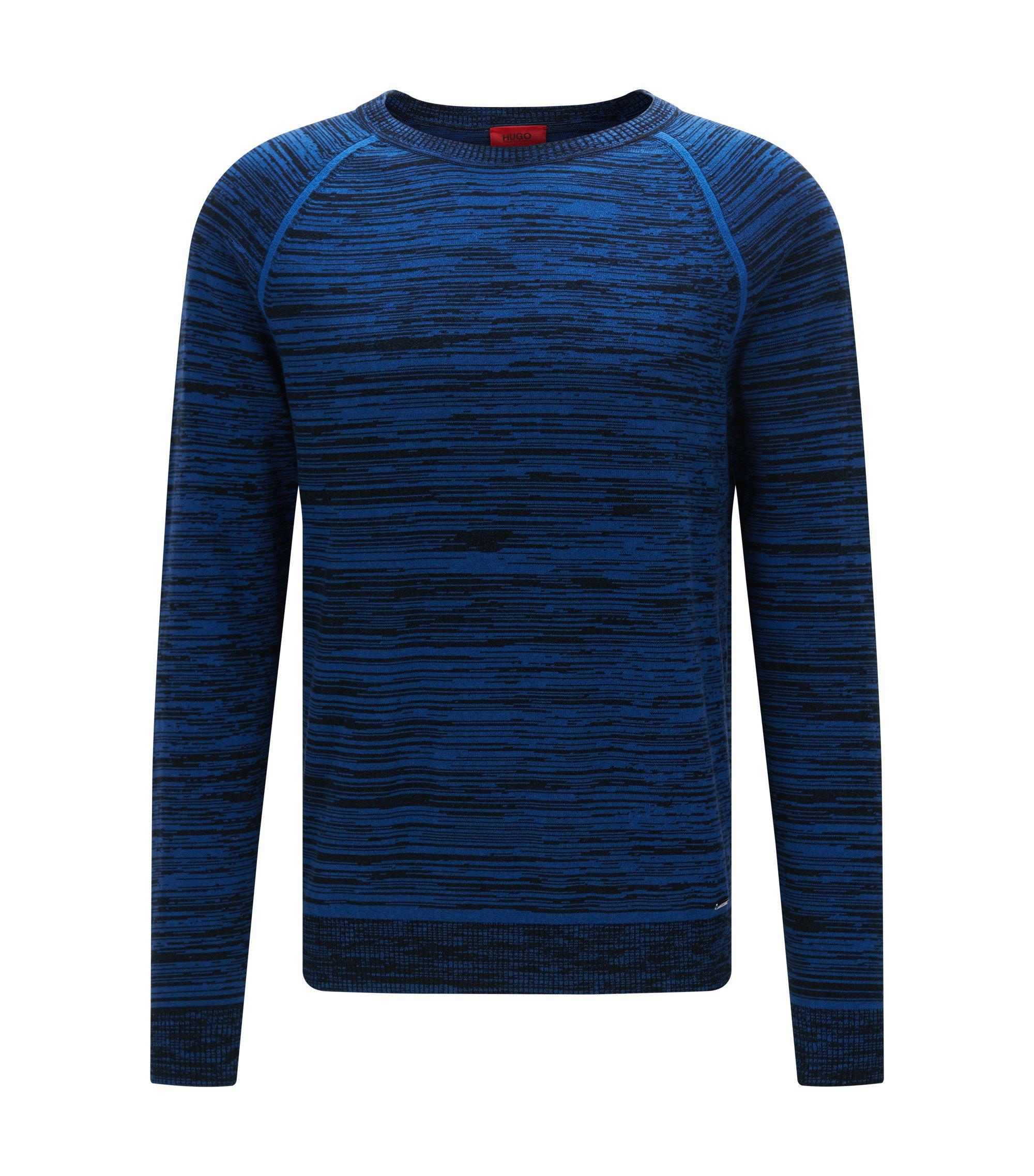 Srolon | Slim fit, Melange Stripe Cotton Sweater, Open Blue