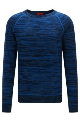 Srolon | Slim fit, Melange Stripe Cotton Sweater, Open Blue
