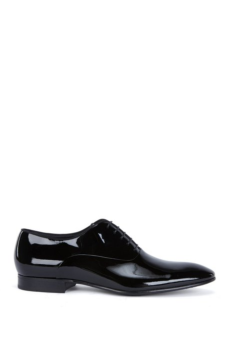 84db8f2839dfe BOSS - Patent leather Oxford shoes with grosgrain collar piping